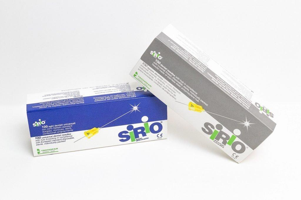 confezione con aghi Sirio per l'anestesia dentale