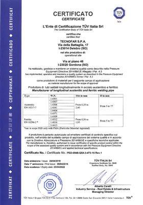 Certificazione PED-0948-QS4